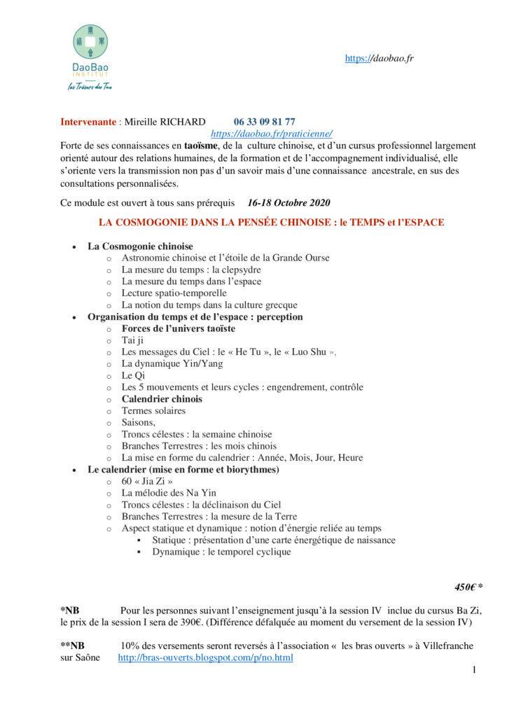 session indépendante du cursus Ba Zi 2020-2021